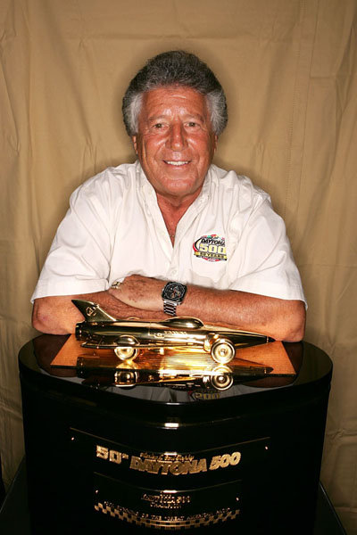 Mario Andretti with His Daytona 500 Trophy